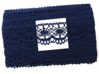 Cotton bobbin lace 75238, width51mm, dark blue - 4