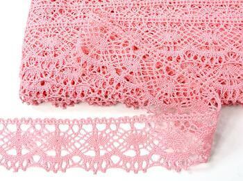 Paličkovaná krajka 75238 bavlněná, šířka51 mm, růžová - 4