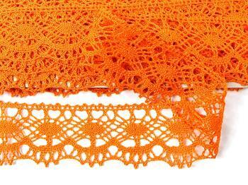 Paličkovaná krajka 75238 bavlněná, šířka51 mm, sytě oranžová - 4