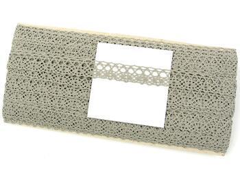 Cotton bobbin lace 75239, width 19 mm, dark linen gray - 4