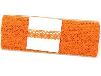 Cotton bobbin lace 75239, width 19 mm, rich orange - 4
