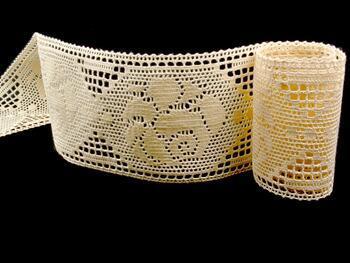 Cotton bobbin lace insert 75242, width97mm, ecru - 4