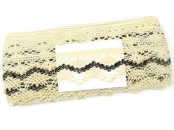Bobbin lace No. 75251 creamy/dark brown | 30 m - 4