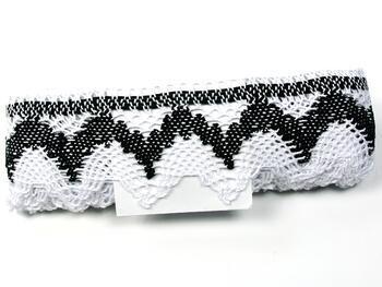 Paličkovaná krajka 75256 bavlněná, šířka80 mm, bílá/černá - 4
