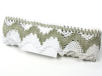 Bobbin lace No. 75256 white/dark linen | 30 m - 4