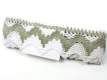 Cotton bobbin lace 75256, width 80 mm, white/dark linen gray - 4