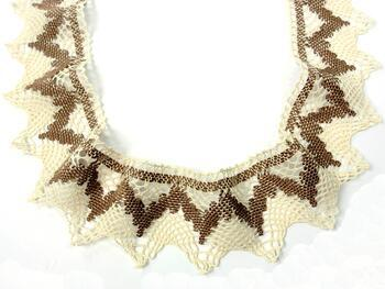 Cotton bobbin lace 75256, width80mm, ecru/dark beige - 4