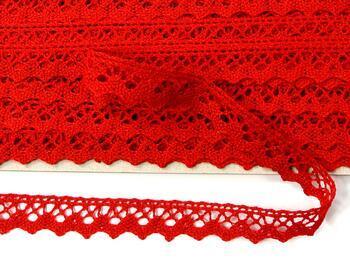 Paličkovaná krajka 75259 bavlněná, šířka17 mm, červená - 4