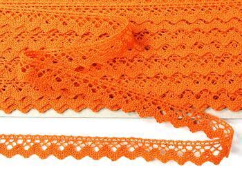 Paličkovaná krajka 75259 bavlněná, šířka17 mm, sytě oranžová - 4