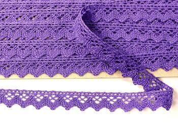 Paličkovaná krajka 75259 bavlněná, šířka 17 mm, purpurová II - 4