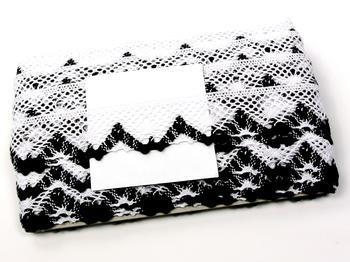 Paličkovaná krajka vzor 75261 bílá/černá | 30 m - 4