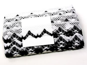 Paličkovaná krajka 75261 bavlněná, šířka40 mm, bílá/černá - 4