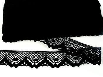 Paličkovaná krajka 75261 bavlněná, šířka40 mm, černá - 4