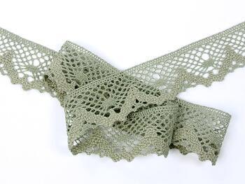 Cotton bobbin lace 75261, width 40 mm, dark linen gray - 4
