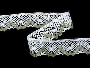 Cotton bobbin lace 75261, width 40 mm, white/dark linen gray - 4