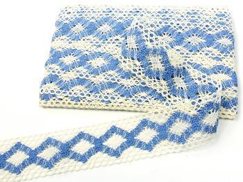 Cotton bobbin lace insert 75264, width43mm, ivory/sky blue - 4