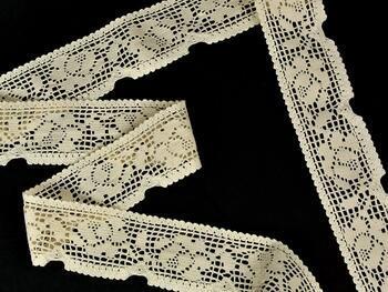 Cotton bobbin lace 75268, width 55 mm, ecru - 4