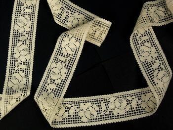 Cotton bobbin lace insert 75269, width53mm, ecru - 4