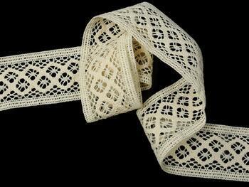 Cotton bobbin lace insert 75283, width53mm, ecru - 4