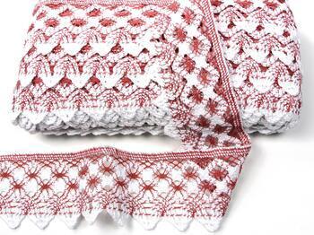 Cotton bobbin lace 75293, width 68 mm, rose/white - 4