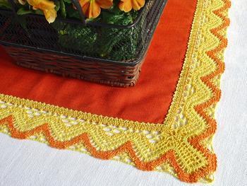 Paličkovaná krajka vzor 75301 žlutá/tmavě žlutá/sytě oranžová | 30 m - 4