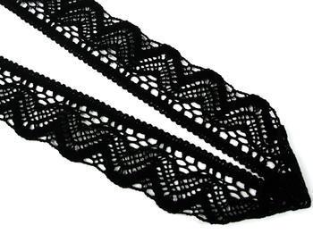 Paličkovaná krajka vzor 75301 černá | 30 m - 4