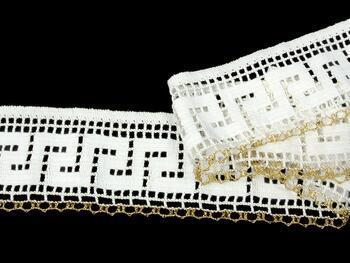 Cotton bobbin lace 75303, width 75 mm, white/Lurex gold - 4
