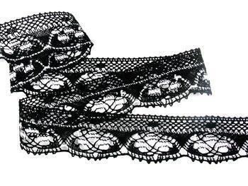 Paličkovaná krajka 75320 bavlněná, šířka40 mm, černá/bílá - 4