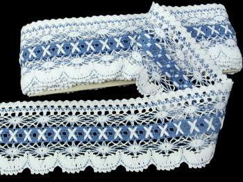 Paličkovaná krajka vzor 75335 bílá/blankytně modrá | 30 m - 4