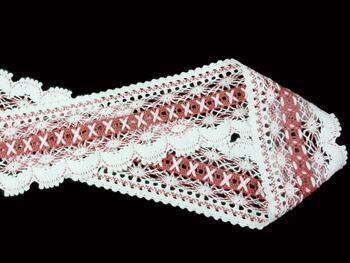 Paličkovaná krajka 75335 bavlněná, šířka75 mm, bílá/starorůž. - 4