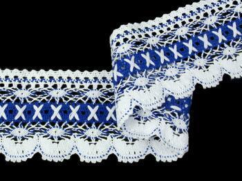 Paličkovaná krajka 75335 bavlněná, šířka 75 mm, bílá/král.modrá - 4