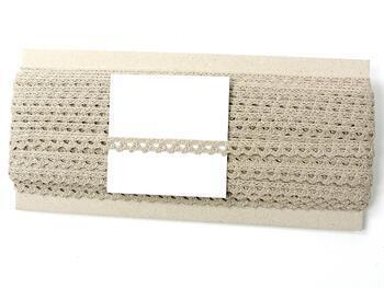 Cotton bobbin lace 75361, width 9 mm, light linen gray - 4