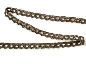 Cotton bobbin lace 75361, width 9 mm, light brown - 4