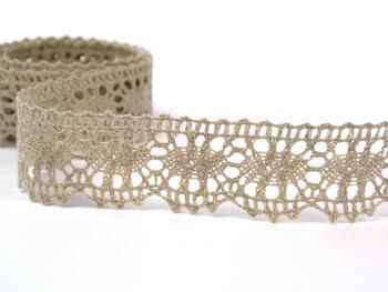 Linen bobbin lace 75394, width 25 mm, 100% linen natural - 4