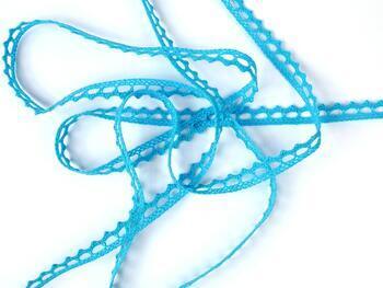 Cotton bobbin lace 75397, width 9 mm, turquoise - 4