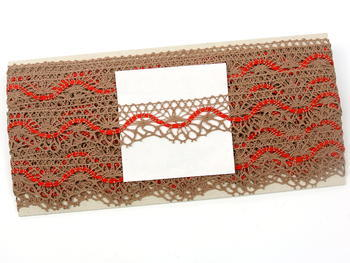 Paličkovaná krajka vzor 75416 tmavě béžová/červená | 30 m - 4