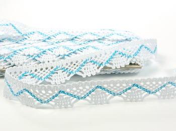 Bobbin lace No. 75423 white/turquoise | 30 m - 4