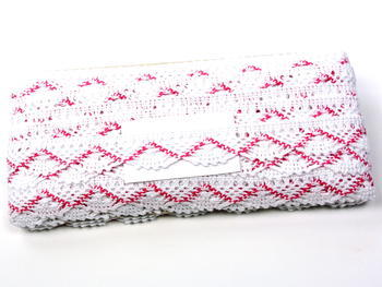 Bobbin lace No. 75423 white/fuchsia | 30 m - 4