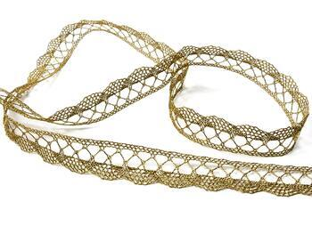 Metalic bobbin lace 75428, width 18 mm, Lurex gold antique - 4