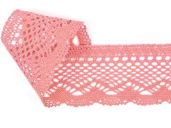 Cotton bobbin lace 75414, width 55 mm, rose - 4