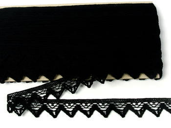 Paličkovaná krajka vzor 75469 černá | 30 m - 4