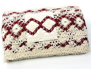 Bobbin lace No. 75608 cream/cranberry | 30 m - 4