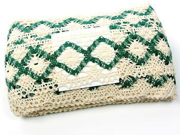 Bobbin lace No. 75608 cream/green | 30 m - 4