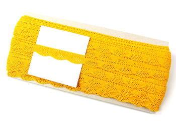 Paličkovaná krajka vzor 75629 tmavě žlutá | 30 m - 4