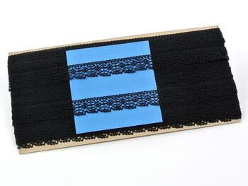 Paličkovaná krajka vzor 81032 černá | 30 m - 4