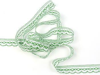Paličkovaná krajka vzor 81215 bílá/trávová zelená | 30 m - 4