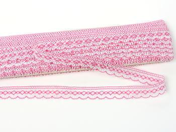 Paličkovaná krajka vzor 81215 bílá/fuchsiová | 30 m - 4