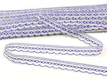 Paličkovaná krajka vzor 81215 bílá/purpurová | 30 m - 4