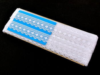 Paličkovaná krajka vzor 81297 bílá | 30 m - 4