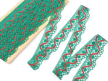 Bobbin lace No. 82129 light green/red | 30 m - 4
